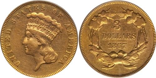 $3 Princess Head Gold VF35 Grading Image