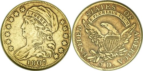 $5 Capped Left Gold Coin VF20 Image Grade