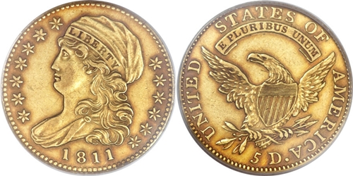$5 Capped Left Gold Coin EF45 Image Grade