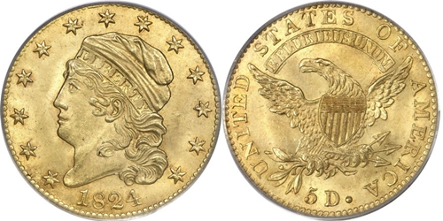 $5 Capped Left Gold Coin MS63 Image Grade