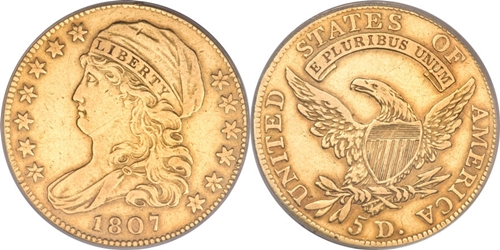$5 Capped Left Gold Coin VF30 Image Grade