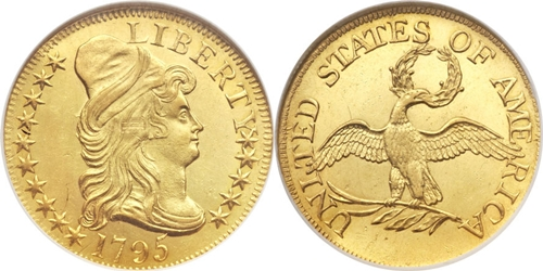 $5 Gold Capped Right Gold Coin MS63 Grade Image