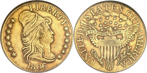 $5 Gold Coin Capped Right AU55 Grade Image