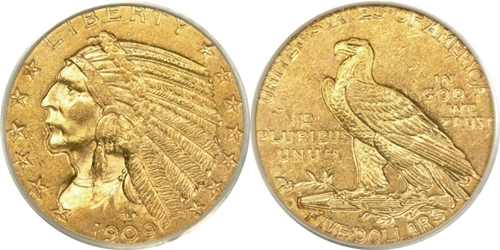 Indian Head $5 Gold Coin AU55 Grading Image