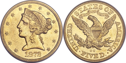 Liberty Head $5 Gold Coin AU55 Grading Image