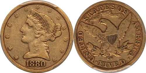 Liberty Head $5 Gold Coin VF20 Grading Image