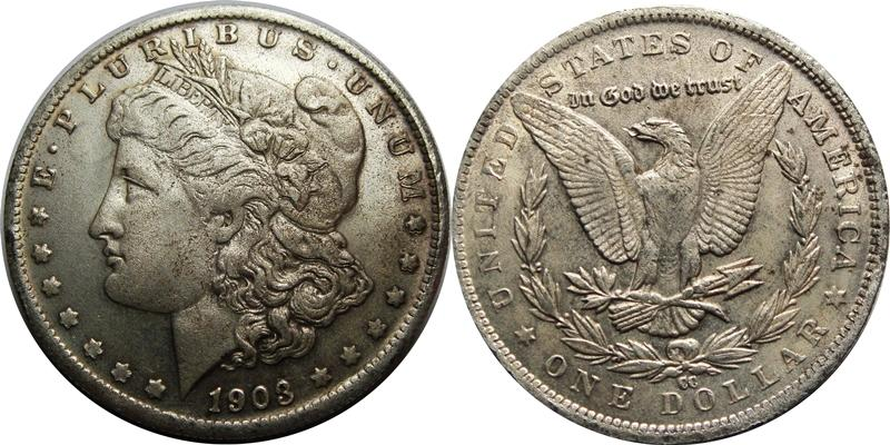 Fake - Counterfeit 1903-CC Morgan Silver Dollar Image