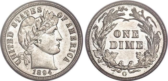 MS63 Mint State Grade Barber Dime Image