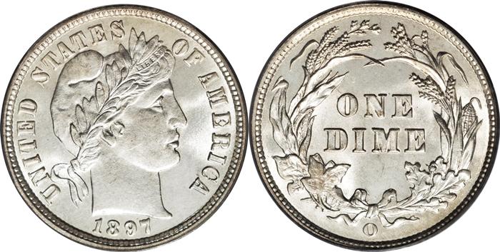 MS65 Mint State Barber Dime Grade Image