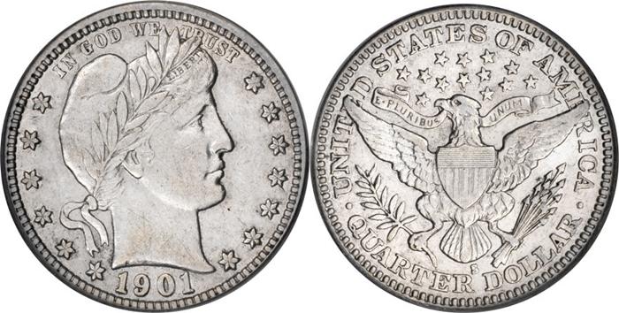 EF45 Extremely Fine Barber Quarter Image