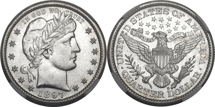 MS64 Mint State Grade Barber Quarter Image