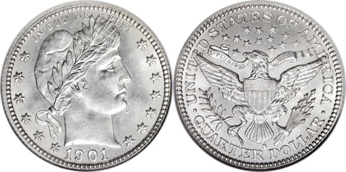 MS65 Mint State Barber Quarter Grade Image