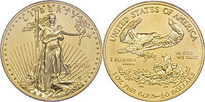 Most valuable $50 Gold American Eagle values