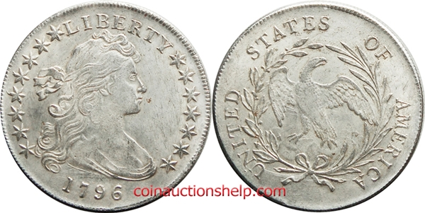 1796 Counterfeit Steel Planchet Draped Bust Silver Dollar Image