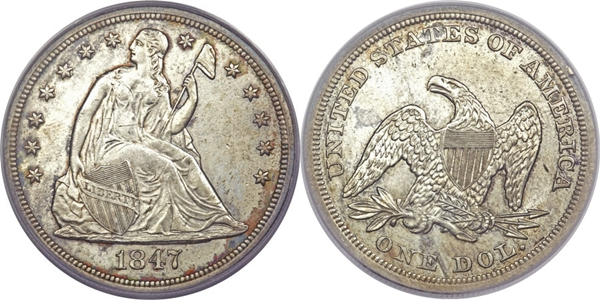 1847 Authentic Seated Silver Dollar Image