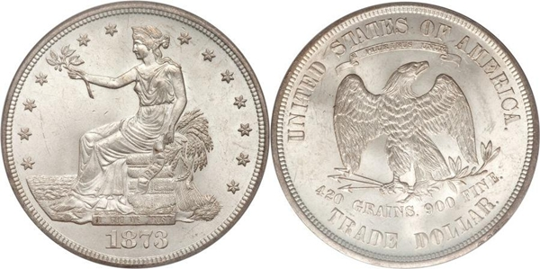 1873 Authentic Silver Trade Dollar Image