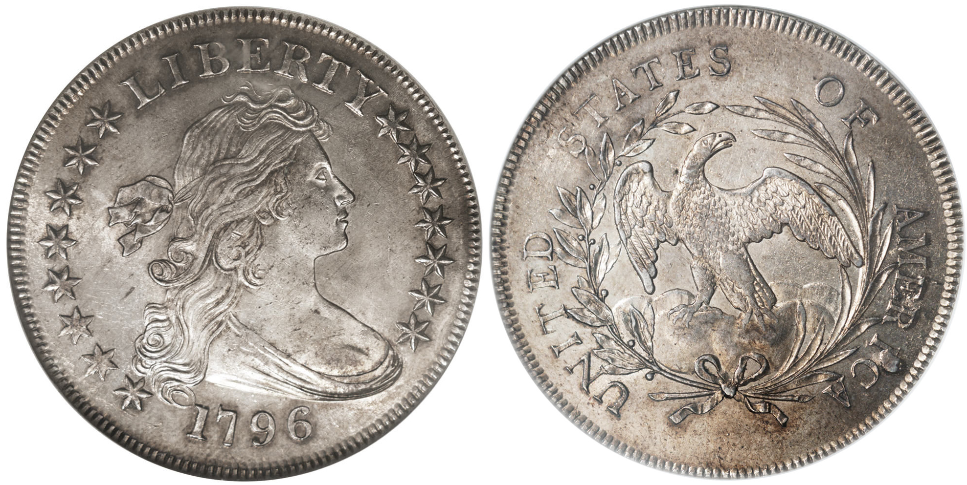 1796 Authentic Draped Bust Silver Dollar Image