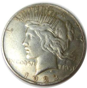 1923 Counterfeit Peace Silver Dollar Image