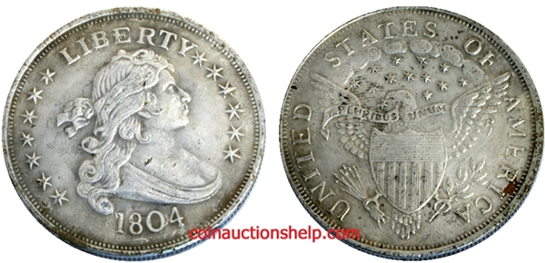 1804 Counterfeit Draped Bust Silver Dollar Image