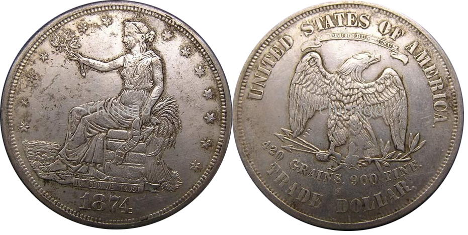 1874 Countefeit Fake Silver Trade Dollar