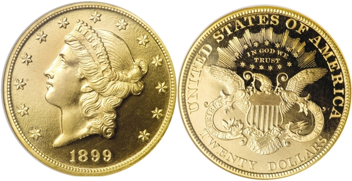 1899 $20 Liberty Head Gold With Motto Image