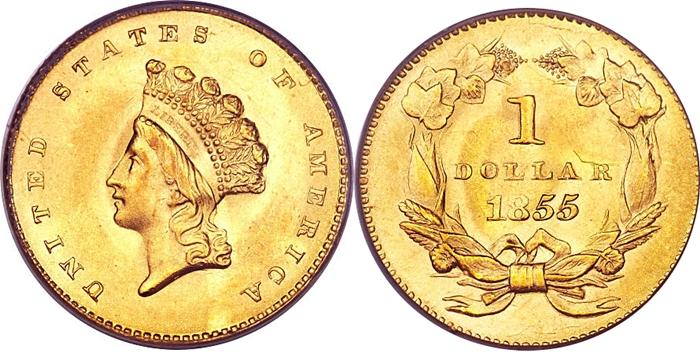 1855 Type 2 Small Indian Head $1 Gold