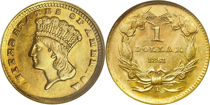 1861-D $1 Gold Type 3 Large Head