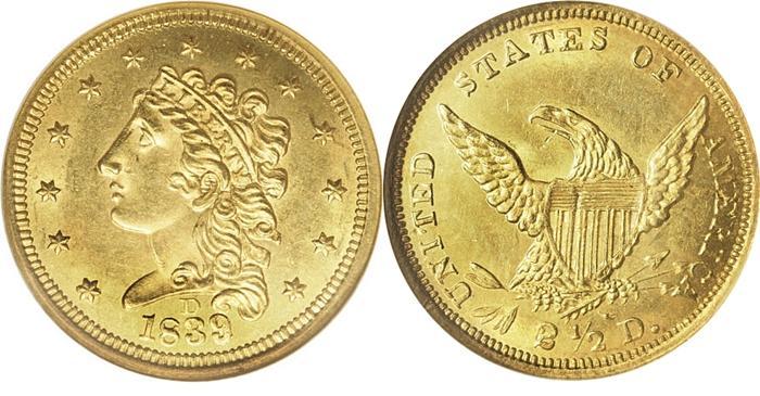 1839-D $2.50 Classic Head Gold Quarter Eage