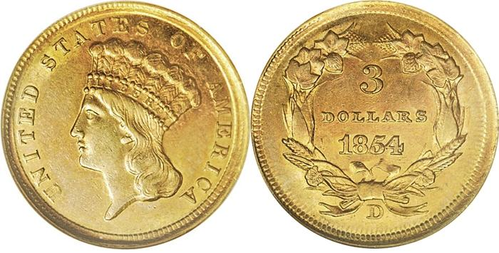 Most Valuable 3 Dollar Gold Princess 1854 1889 Us Coins