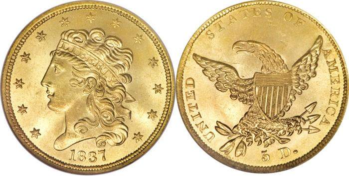 Most valuable $5 Classic Head gold coin values