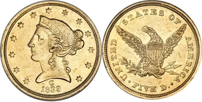 Most valuable $5 Liberty Head No Motto gold coin values