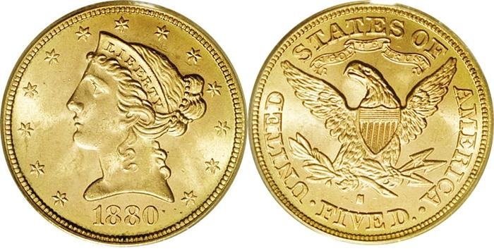 Most valuable $5 Liberty Head With Motto gold coin values