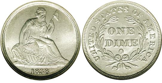 1838-O Seated Dime Image
