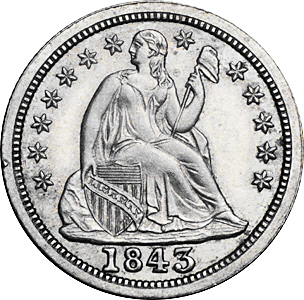 1843 Seated Dime No Arrows Image