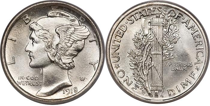 1918 Mercury Head Winged Liberty Dime Image