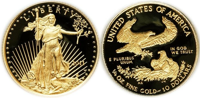$10 American Gold Eagle Values 1/4th Ounce Pure Gold