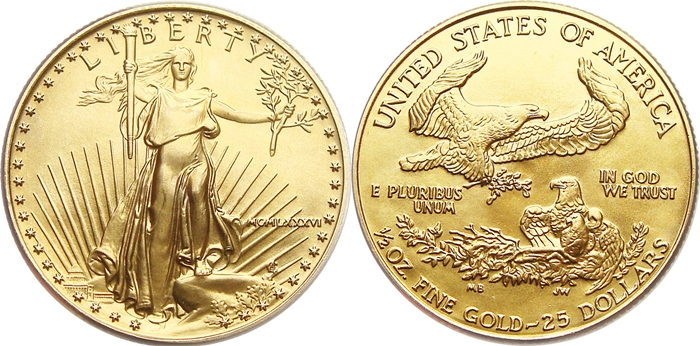 $25 American Gold Eagle Values 1/2 Ounce Pure Gold