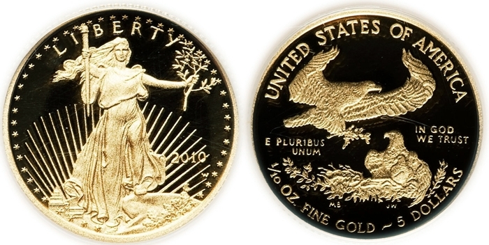 5 Five Dollar American Eagle Gold Bullion 999 1 10 Oz