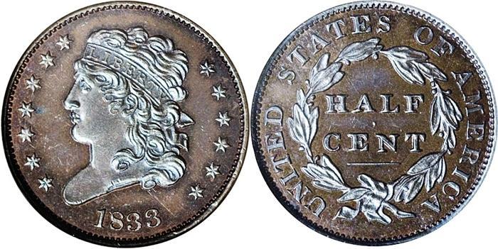 1833 Classic Head Half Cent Proof Image