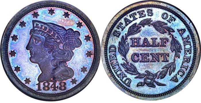 1848 Braided Hair Half Cent Image