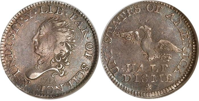 1792 Half Disme (Deem) first US Coin image