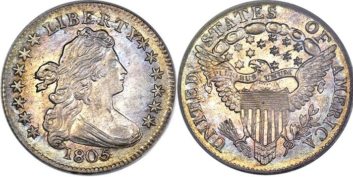 1805 Draped Bust Half Dime Eagle Shield Image