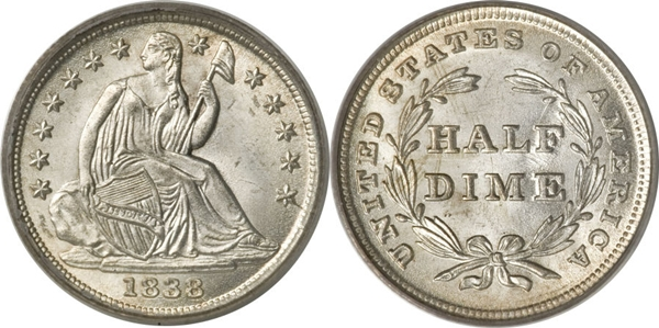 1838 Seated Half Dime With Stars Image