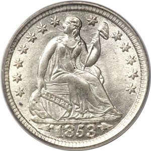 1853 Seated Half Dime Drapery Arrows Image