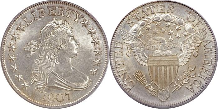 1807 Draped Bust Half Dollar Eagle Shield