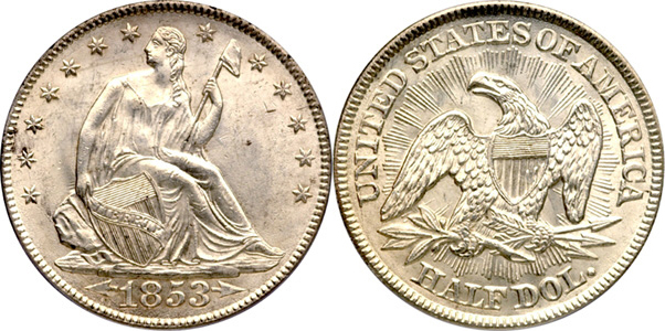 1853 Seated Half Dollar Arrows at Date Rays Image