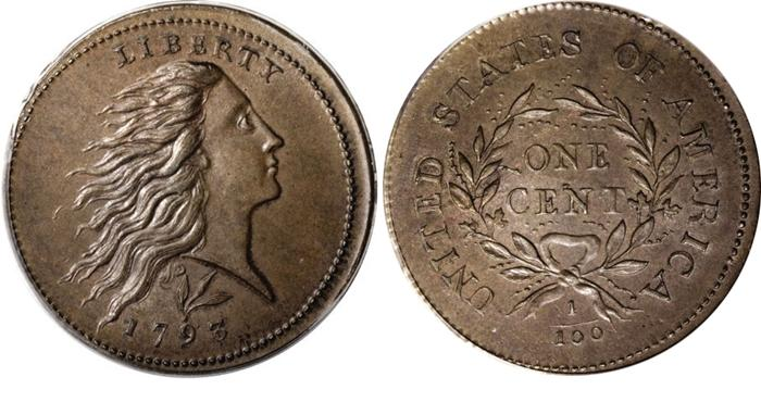 1793 Flowing Hair Large Cent Wreath Reverse Image
