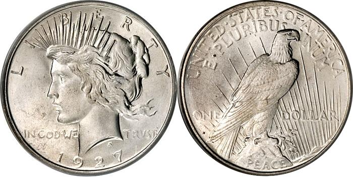1927 Peace Dollar Image
