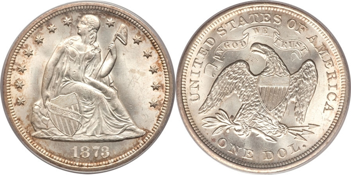 1873 Seated Silver Dollar Image