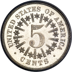 1866 Shield Nickel With Rays Image